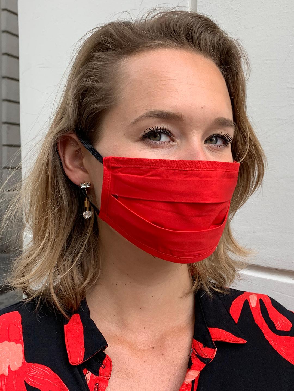 Masque de Protection Recto Vermillon / Verso Fuchsia (Gansé Vermillon)