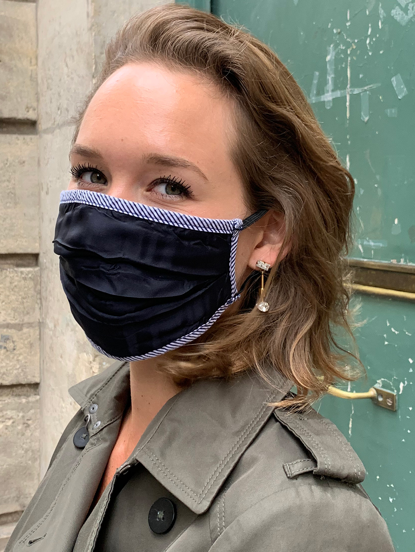 Masque de Protection Bleu nuit Gansé Rayé Bleu femme
