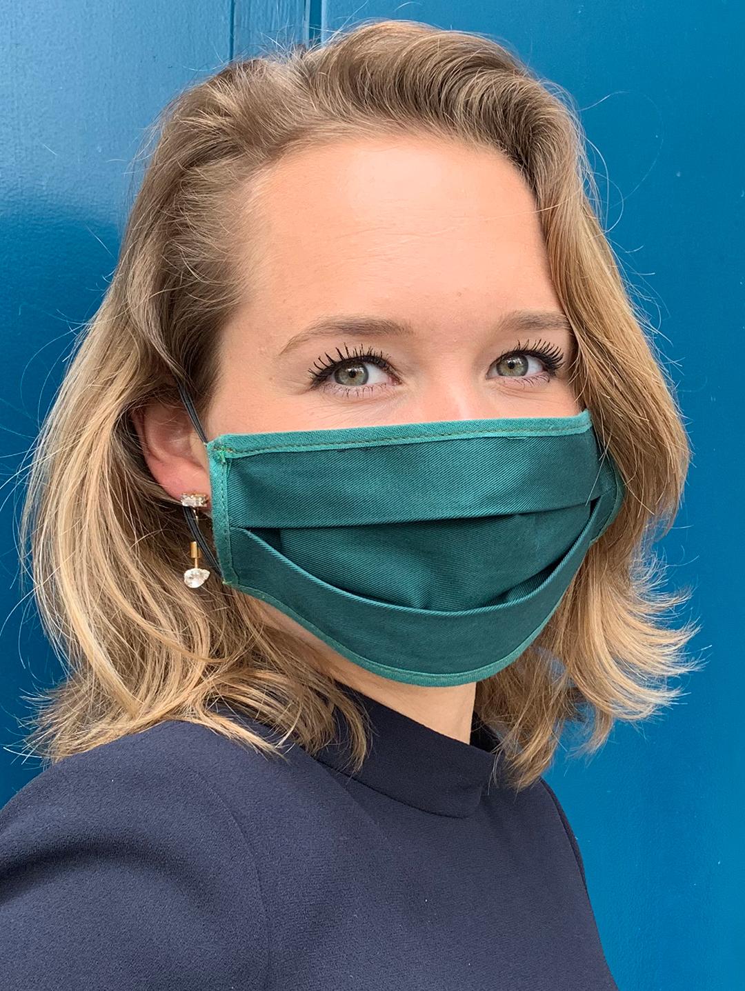 Masque de Protection Recto Vert Emeraude Femme