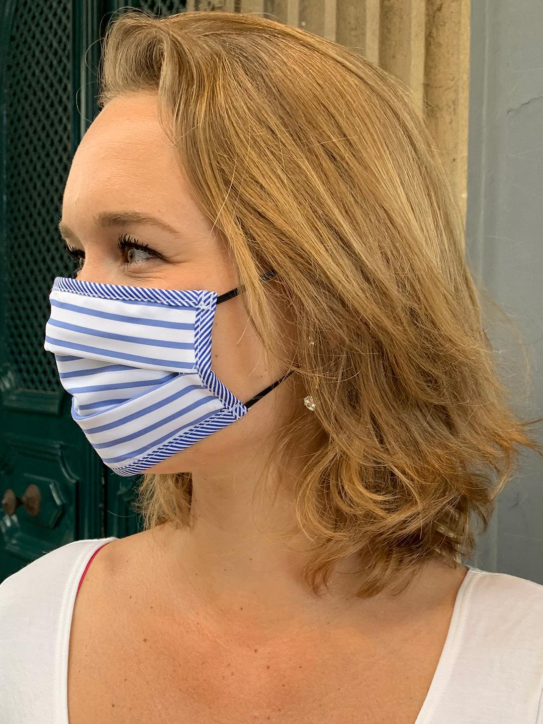 Masque de Protection Recto Blanc à rayure Bleue femme