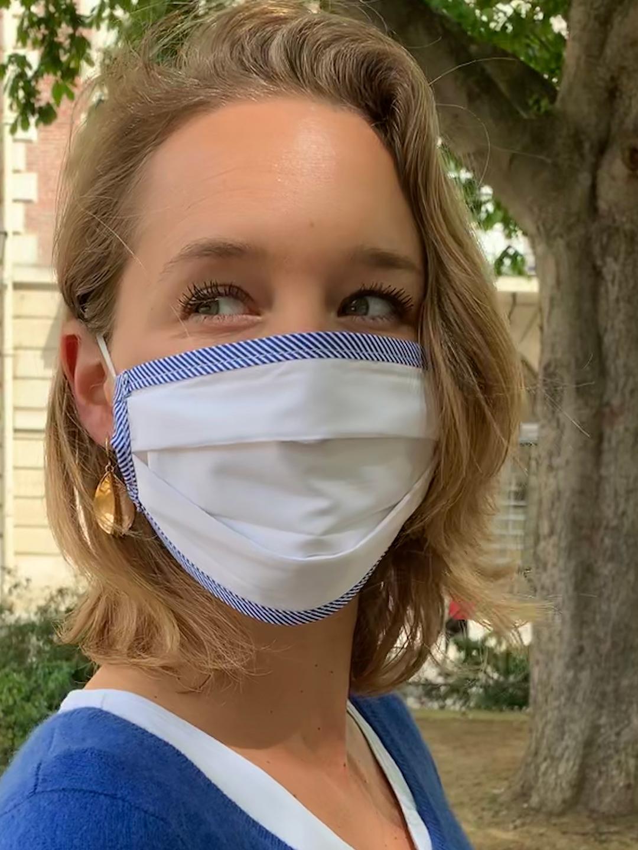 Masque de Protection Blanc de Blanc ganse Rayée Bleue