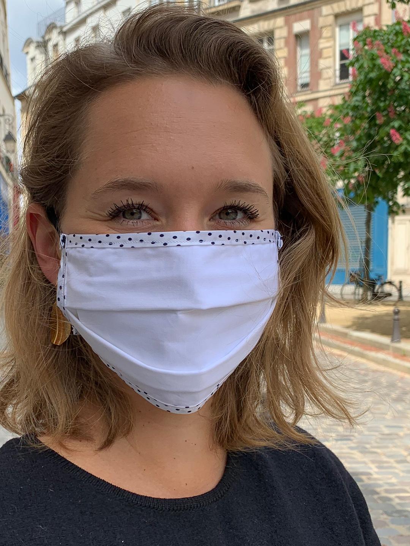 Masque de Protection Recto Blanc à Pois / Verso Blanc Gansé à Pois