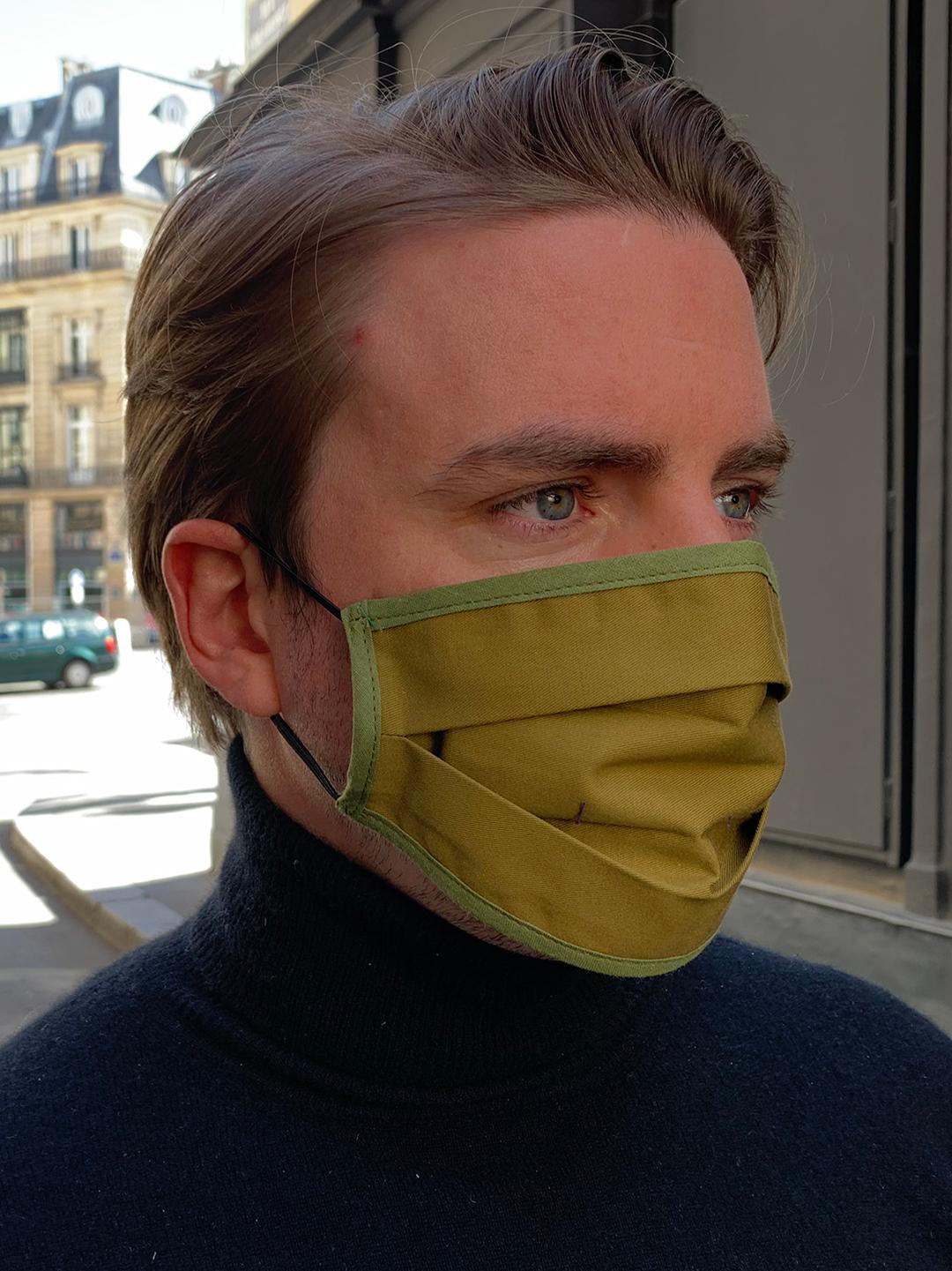 Masque de Protection Recto Kaki Homme