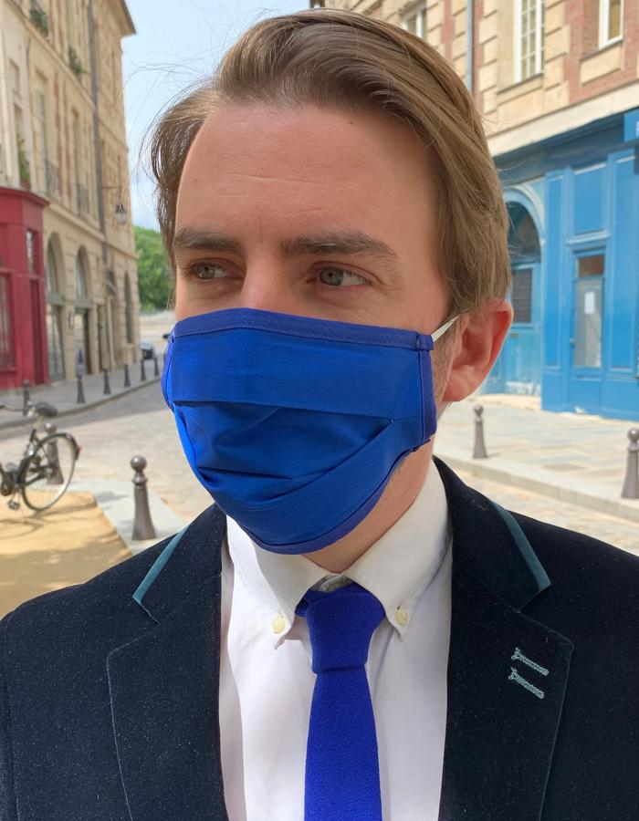 Masque de Protection Recto Bleu Roi / Verso Blanc Gansé Bleu roi